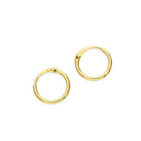 9ct Gold 1mm Tube Hoop Earrings 8mm