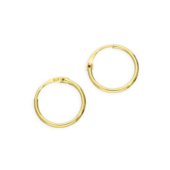 9ct Gold 1mm Tube Hoop Earrings 10mm