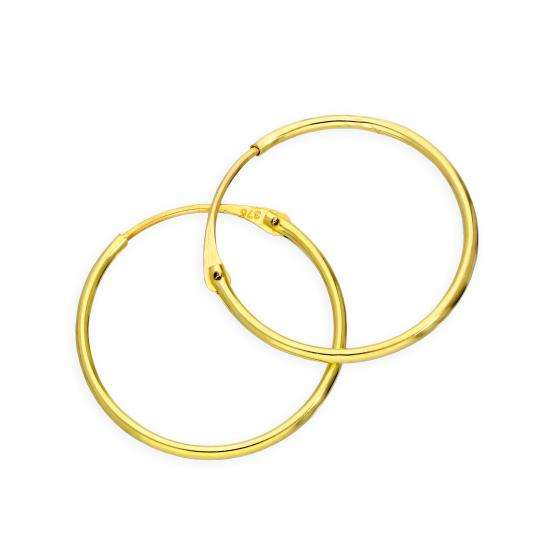9ct Gold 1mm Tube Hoop Earrings 16mm