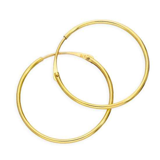 9ct Gold 1mm Tube Hoop Earrings 20mm