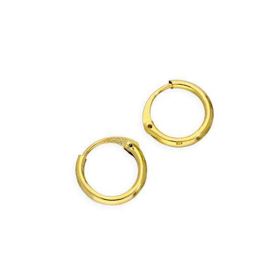 9ct Gold 1.2mm Tube Hoop Earrings 8mm