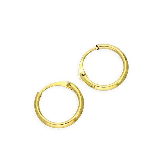 9ct Gold 1.2mm Tube Hoop Earrings 10mm