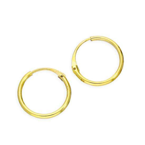 9ct Gold 1.2mm Tube Hoop Earrings 12mm