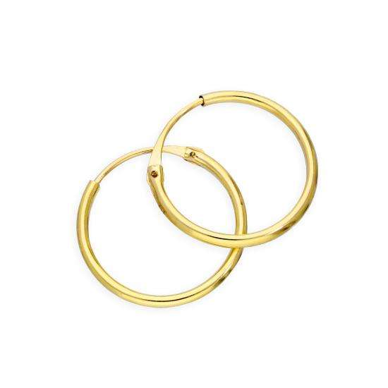 9ct Gold 1.2mm Tube Hoop Earrings 14mm