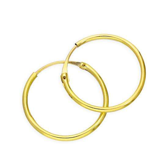 9ct Gold 1.2mm Tube Hoop Earrings 16mm