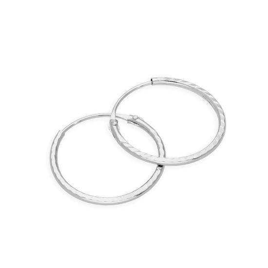 9ct White Gold Diamond Cut 12mm Hoop Earrings