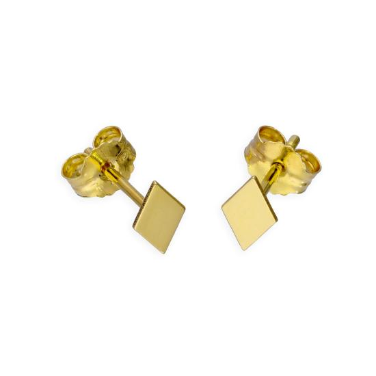 9ct Gold Flat Diamond Shape Stud Earrings