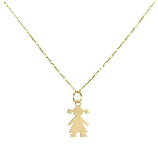 9ct Gold Ragdoll Pendant Necklace 16 - 20 Inches