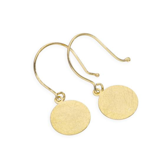 9ct Gold Brushed Circle Fish Hook Earrings