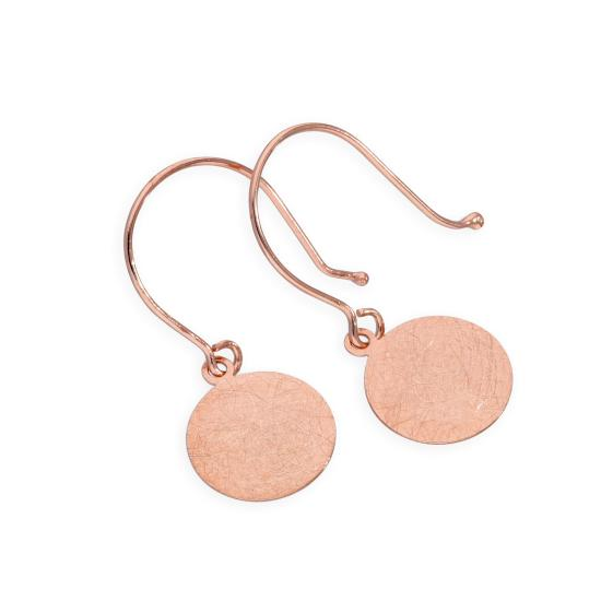 9ct Rose Gold Brushed Circle Fish Hook Earrings