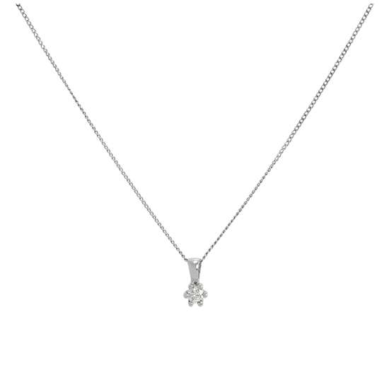 9ct White Gold & Genuine Diamond Pendant Necklace 16 - 20 Inches