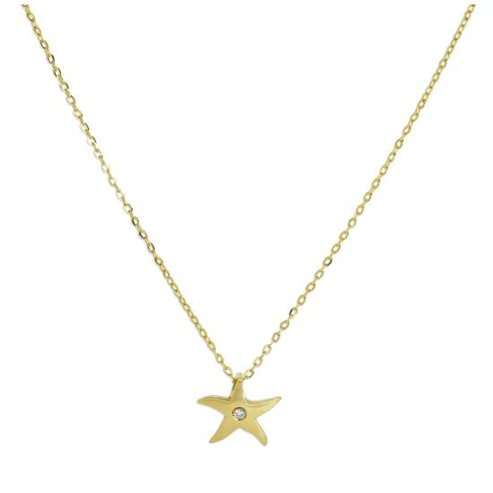 9ct Gold & Genuine Diamond Star Fine 1mm Curb Necklace 16 Inches