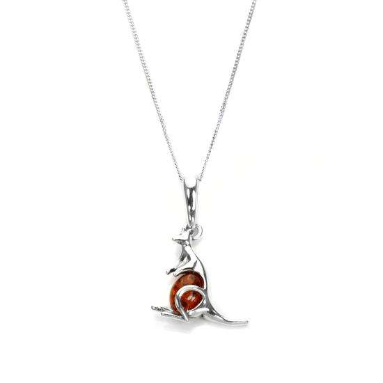 Sterling Silver & Baltic Amber Kangaroo Pendant - 16 - 22 Inches