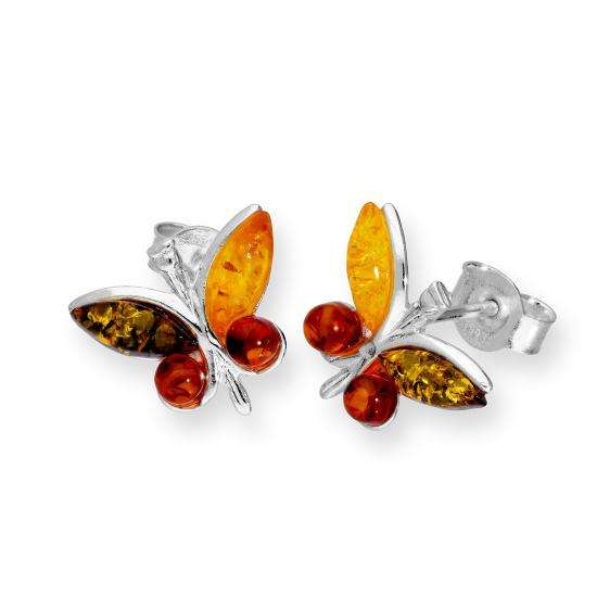 Sterling Silver & Multicoloured Baltic Amber Butterfly Stud Earrings