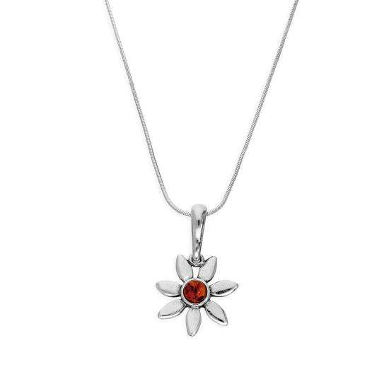 Sterling Silver & Baltic Amber Flower Pendant Necklace 14 - 22 Inches