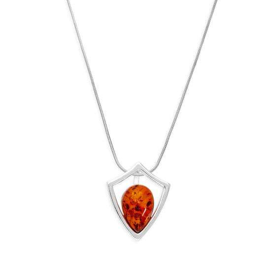 Sterling Silver & Baltic Amber Shield Outline Pendant Necklace 14 - 22 Inches