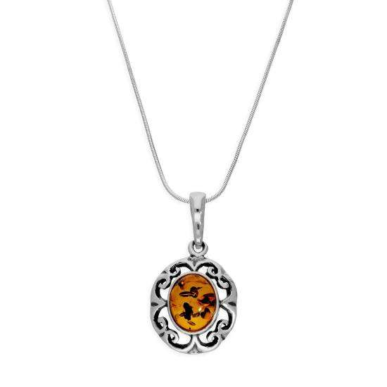 Sterling Silver & Baltic Amber Fancy Floral Pendant Necklace 14 - 22 Inches
