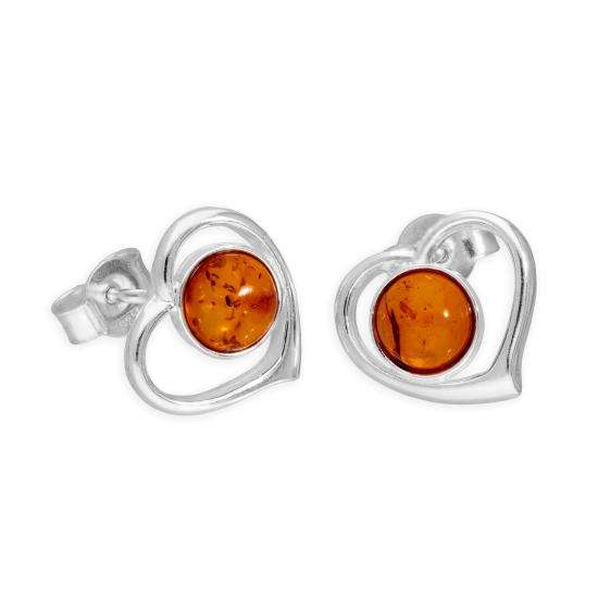 Sterling Silver & Baltic Amber Heart Stud Earrings