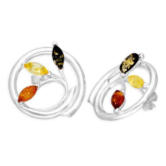 Sterling Silver & Multicoloured Baltic Amber Vine Swirl Stud Earrings