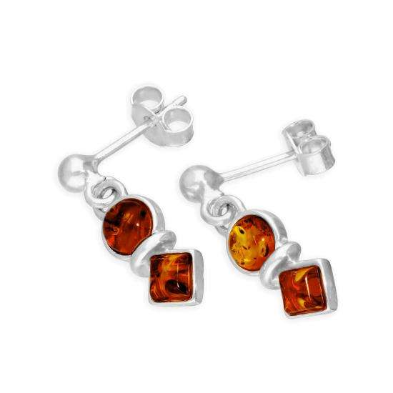 Sterling Silver & Baltic Amber Circle & Square Drop Stud Earrings