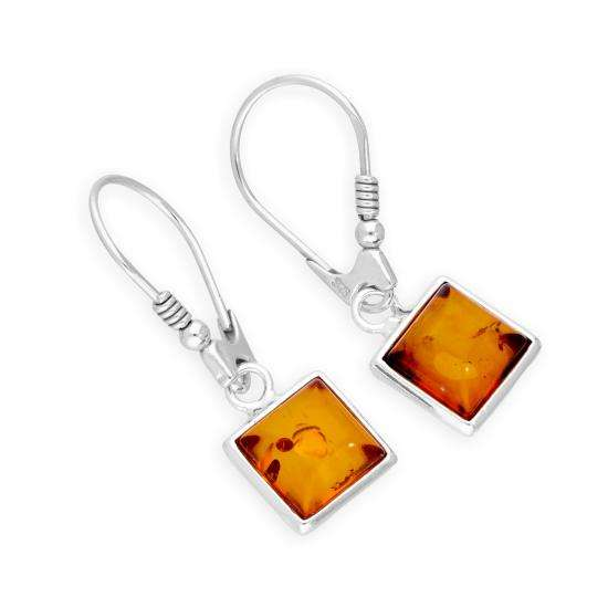 Sterling Silver & Baltic Amber Square Leverback Earrings