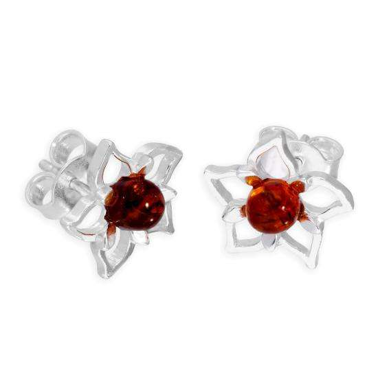 Sterling Silver & Baltic Amber Open Star Flower Stud Earrings