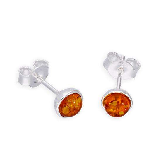 Sterling Silver & Baltic Amber Circle Stud Earrings