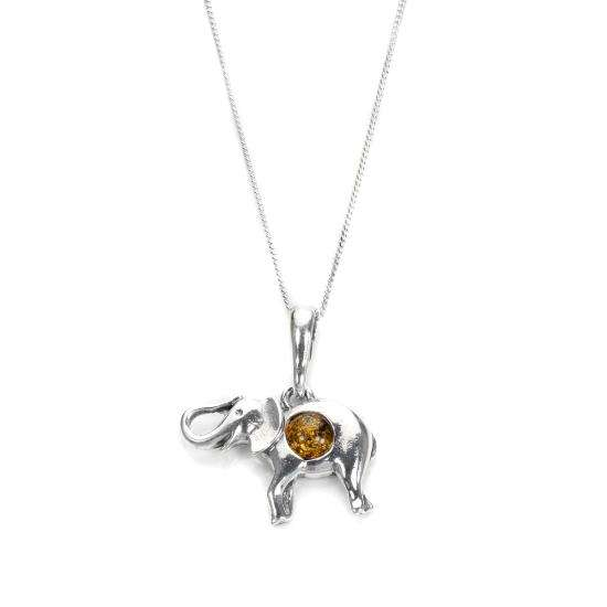 Sterling Silver & Cognac Baltic Amber Elephant Pendant Necklace 16 - 22 Inches