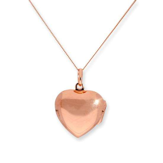 Rose Gold Plated Sterling Silver Engravable Heart Locket 16 - 22 Inches