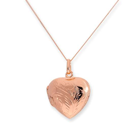 Rose Gold Plated Sterling Silver Engraved Heart Locket 16 - 22 Inches