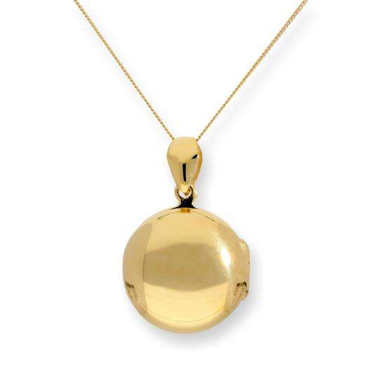 Gold Plated Sterling Silver Engravable Round Locket on Chain 16 - 22 Inches