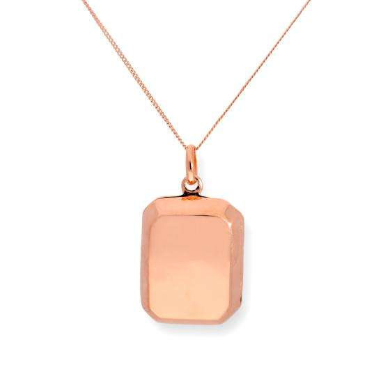 Rose Gold Plated Sterling Silver Engravable Octagonal Locket 16 - 22 Inches