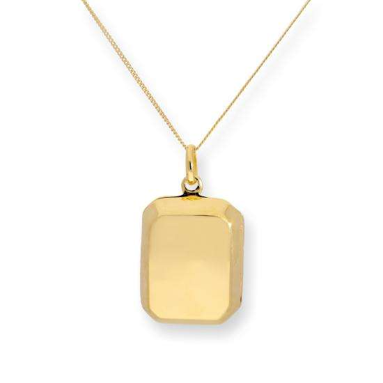 Gold Plated Sterling Silver Engravable Octagonal Locket 16 - 22 Inches