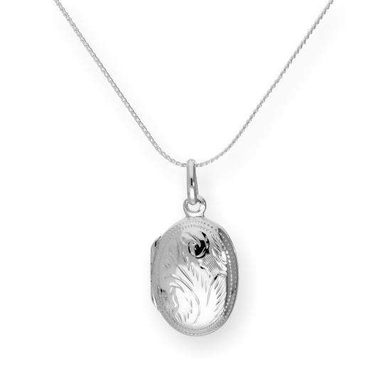 Sterling Silver Oval Engraved Locket on Chain 16 - 22 Inches
