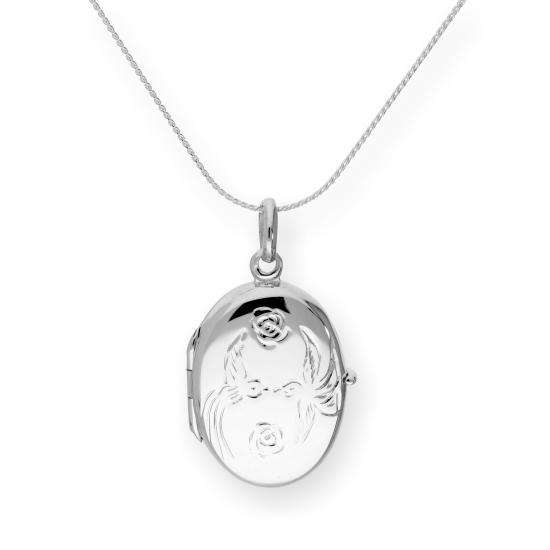 Sterling Silver Oval Locket w Kissing Lovebirds & Roses on Chain 16 - 22 Inches