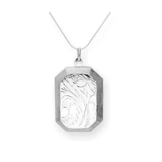 Large Sterling Silver Engraved Octagonal Locket on Chain 16 - 22 Inches