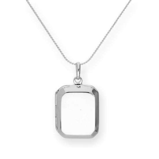 Sterling Silver Engravable Octagonal Locket on Chain 16 - 22 Inches