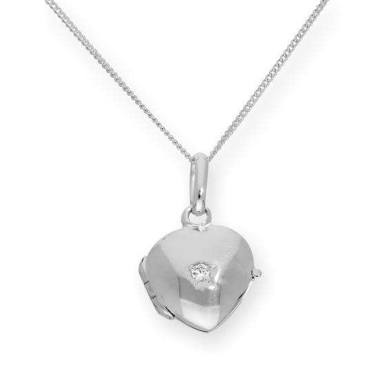 Tiny Sterling Silver & CZ Crystal Engravable Heart Locket on Chain 16-22 Inches