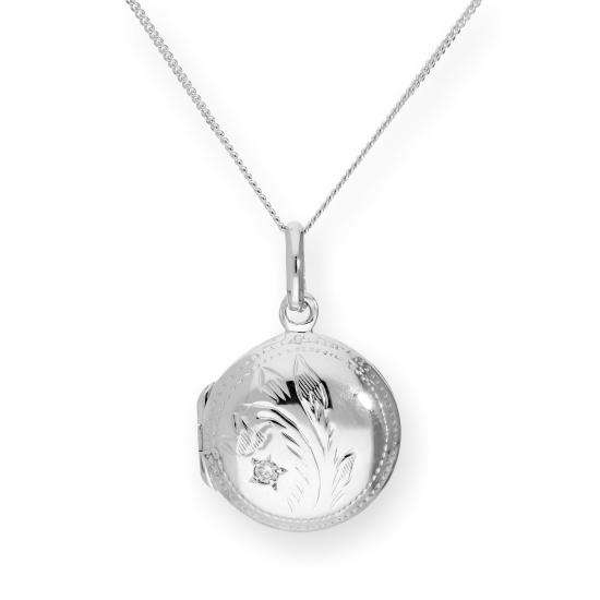 Sterling Silver & CZ Crystal Engraved Round Locket on Chain 16 - 22 Inches