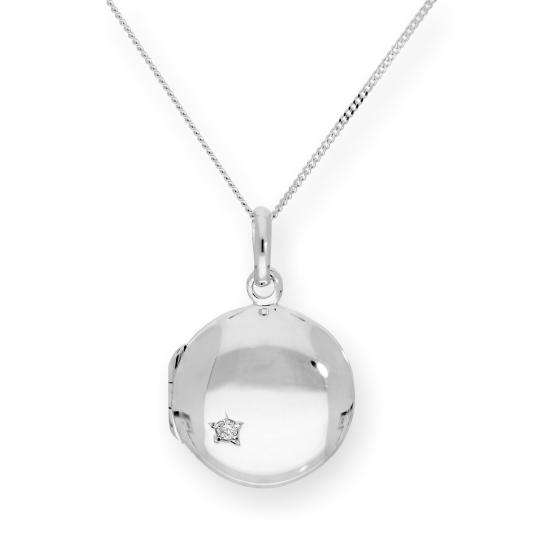 Sterling Silver & CZ Crystal Engravable Round Locket on Chain 16 - 22 Inches