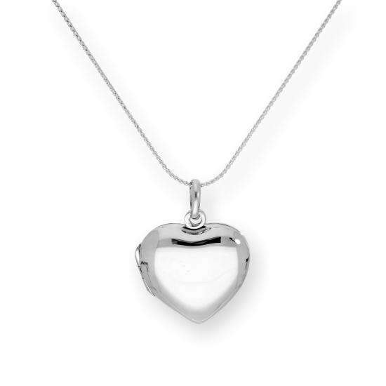 Sterling Silver Engravable Heart Locket on Chain 16 - 22 Inches