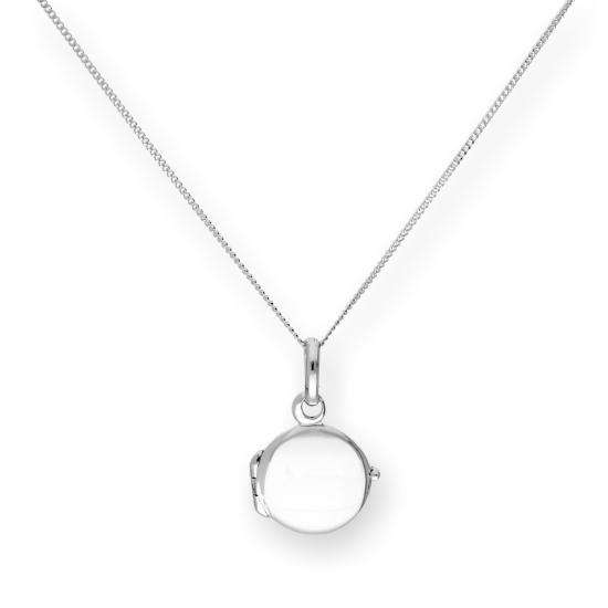 Tiny Sterling Silver Engravable Round Locket on Chain 16 - 22 Inches