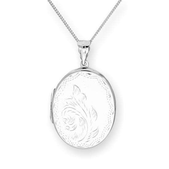 Large Sterling Silver Engraved Floral Oval Locket on Chain 16 - 24 Inches