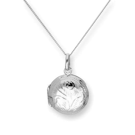Sterling Silver Round Engraved Locket on Chain 16 - 22 Inches