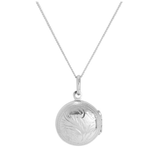 Sterling Silver Round Engraved Locket on Chain 14 - 32 Inches