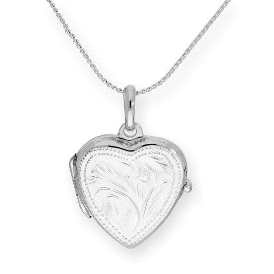 Sterling Silver Engraved Heart Locket on Chain 16 - 22 Inches