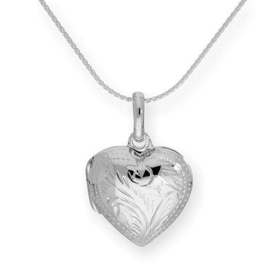 Sterling Silver Engraved Puffed Heart Locket on Chain 16 - 22 Inches