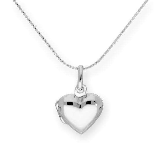 Sterling Silver Puffed Heart Engravable Locket on 16 - 22 Inches