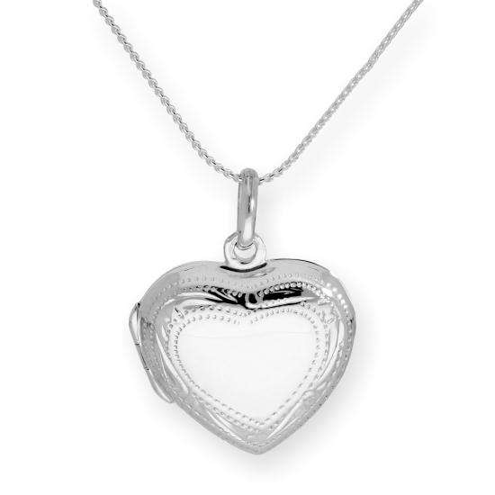 Sterling Silver Puffed Heart Engravable Locket on Chain 16 - 22 Inches