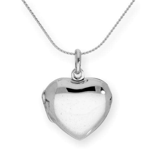 Sterling Silver Heart Engravable Locket on Chain 16 - 22 Inches